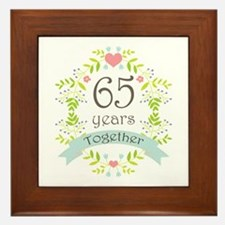 65th Anniversary flowers and hearts Framed Tile
