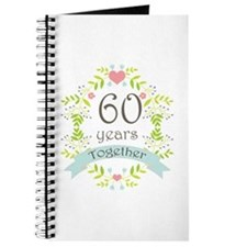 60th Anniversary flowers and hearts Journal