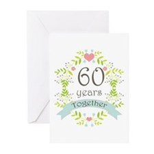 60th Anniversary flowers Greeting Cards (Pk of 20)