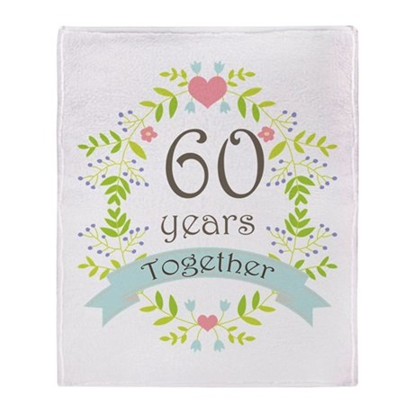 60th anniversary flowers and hearts throw blanket by anniversarytshirts4. Black Bedroom Furniture Sets. Home Design Ideas