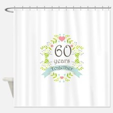 60th Anniversary flowers and hearts Shower Curtain