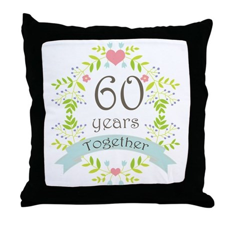 60th anniversary flowers and hearts throw pillow by anniversarytshirts4. Black Bedroom Furniture Sets. Home Design Ideas