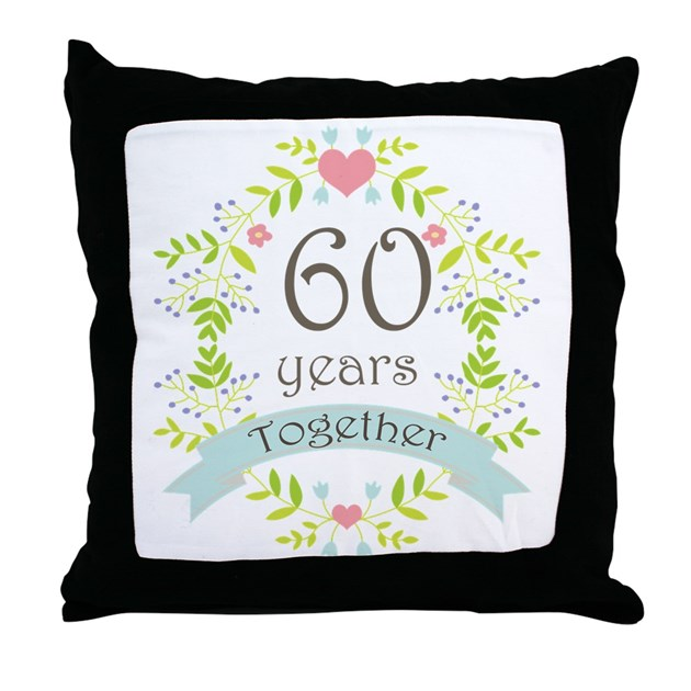 60th anniversary flowers and hearts throw pillow by. Black Bedroom Furniture Sets. Home Design Ideas