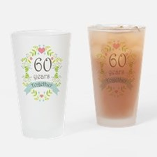 60th Anniversary flowers and hearts Drinking Glass