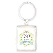 60th Anniversary flowers and hea Portrait Keychain