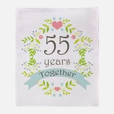 55th Anniversary flowers and hearts Throw Blanket