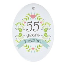 55th Anniversary flowers and heart Ornament (Oval)