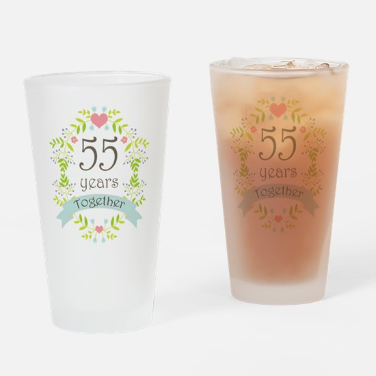 55th Anniversary flowers and hearts Drinking Glass