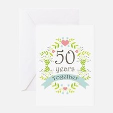 50th Anniversary flowers and hearts Greeting Card