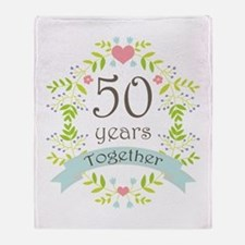 50th Anniversary flowers and hearts Throw Blanket