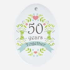 50th Anniversary flowers and heart Ornament (Oval)