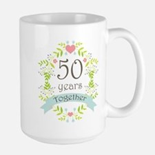 50th Anniversary flowers and hearts Large Mug