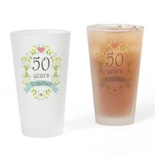 50th Anniversary flowers and hearts Drinking Glass