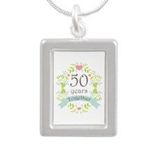 50th Anniversary flowers Silver Portrait Necklace