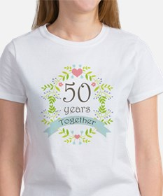 50th Anniversary flowers and heart Tee