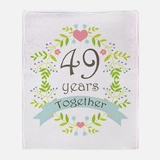 49th Anniversary flowers and hearts Throw Blanket