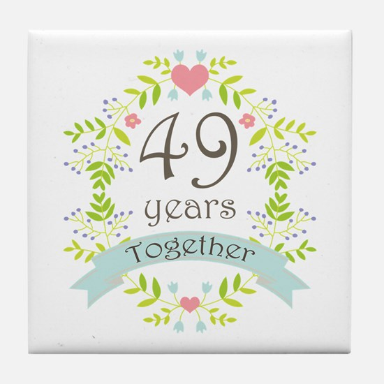 49th Anniversary flowers and hearts Tile Coaster