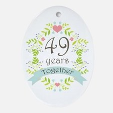 49th Anniversary flowers and heart Ornament (Oval)