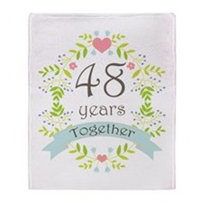 48th Anniversary flowers and hearts Throw Blanket