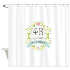 48th Anniversary flowers and hearts Shower Curtain