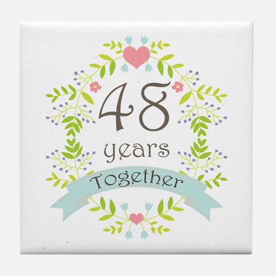 48th Anniversary flowers and hearts Tile Coaster