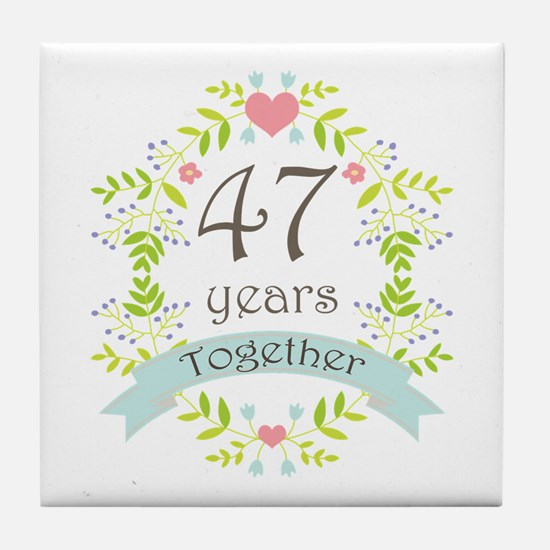 47th Anniversary flowers and hearts Tile Coaster