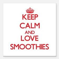 """Keep calm and love Smoothies Square Car Magnet 3"""""""