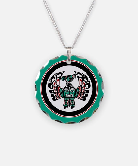 Haida Thunderbird green button Necklace