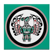 Haida Thunderbird green button Tile Coaster
