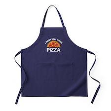I Wish You Were Pizza Apron (dark)