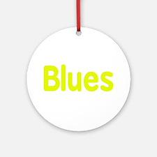 Blues word yellow music design Ornament (Round)