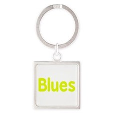 Blues word yellow music design Keychains