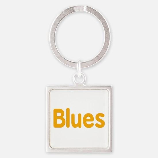 Blues word orange yellow music design Keychains