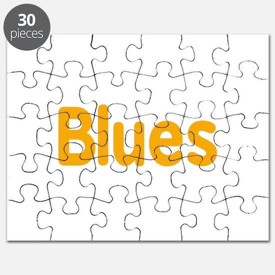 Blues word orange yellow music design Puzzle