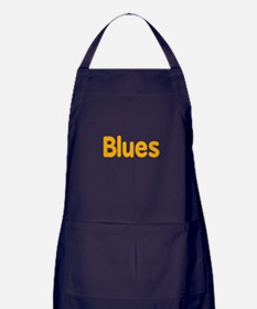 Blues word orange yellow music design Apron (dark)