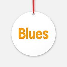 Blues word orange music design Ornament (Round)