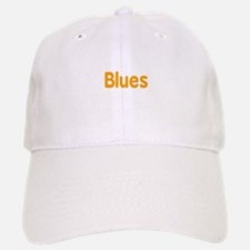Blues word orange music design Baseball Baseball Baseball Cap