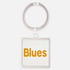 Blues word orange music design Keychains