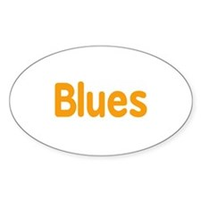 Blues word orange music design Decal