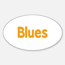 Blues word orange music design Decal