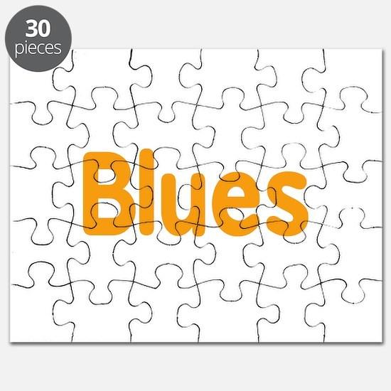 Blues word orange music design Puzzle