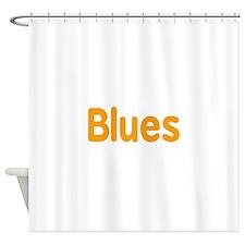 Blues word orange music design Shower Curtain
