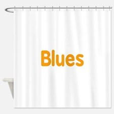 Blues word orange music design Shower Curtain