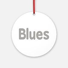 Blues word grey music design Ornament (Round)