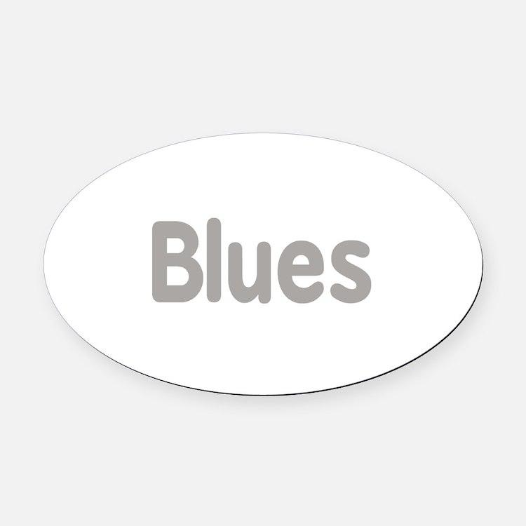 Blues word grey music design Oval Car Magnet