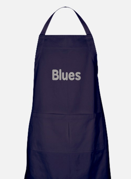 Blues word grey music design Apron (dark)