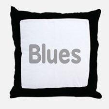 Blues word grey music design Throw Pillow