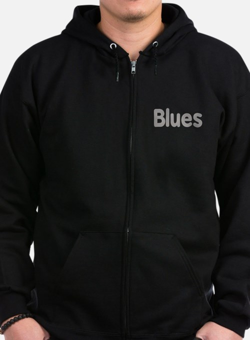 Blues word grey music design Zip Hoodie