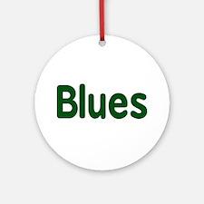 Blues word green music design Ornament (Round)