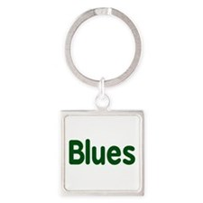 Blues word green music design Keychains
